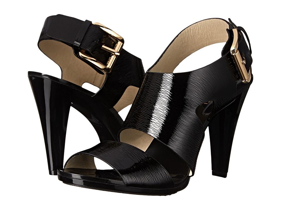 MICHAEL Michael Kors - Carla Sandal (Black Patent Saffiano) High Heels