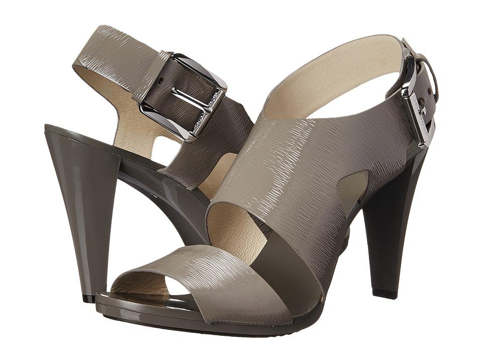 MICHAEL Michael Kors - Carla Sandal (Steel Grey Patent Saffiano) High Heels
