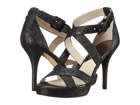 MICHAEL Michael Kors - Evie Platform (Black Sparkle Metallic) High Heels