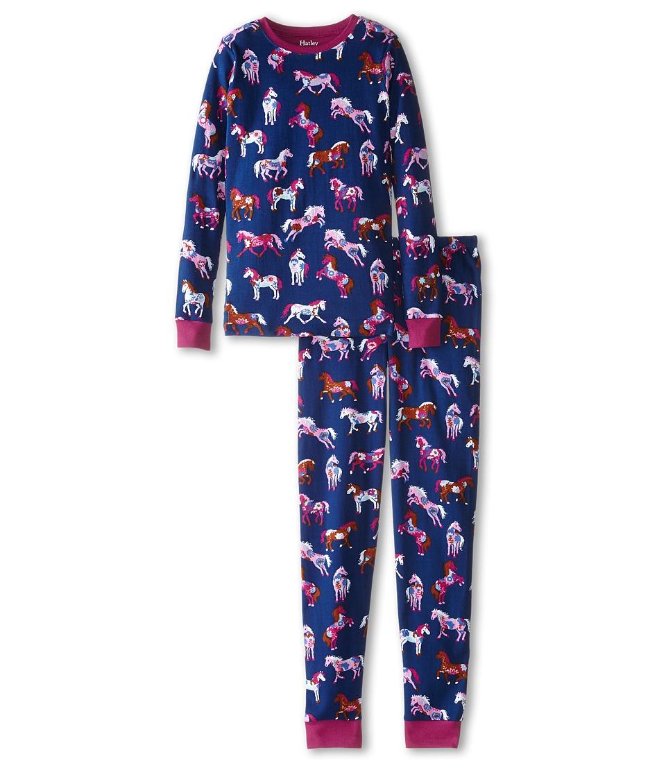 Hatley Kids - Horses Flowers PJ Set (Toddler/Little Kids/Big Kids) (Purple) Girl