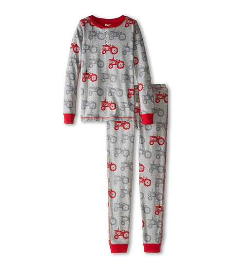 Hatley Kids - Silhouette Tractor Henley PJ Set (Toddler/Little Kids/Big Kids) (Grey) Boy's Pajama Sets