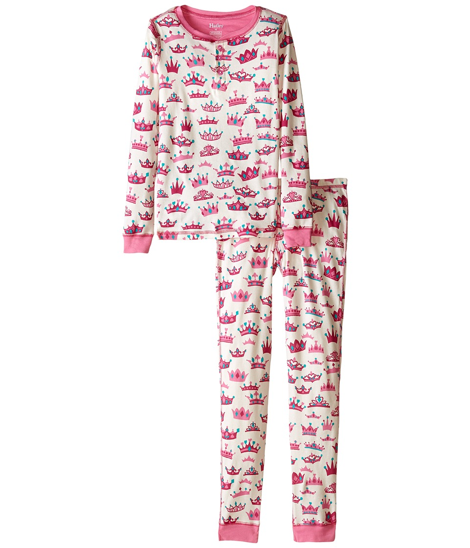 Hatley Kids - Pretty Crowns Henley PJ Set (Toddler/Little Kids/Big Kids) (Cream) Girl's Pajama Sets