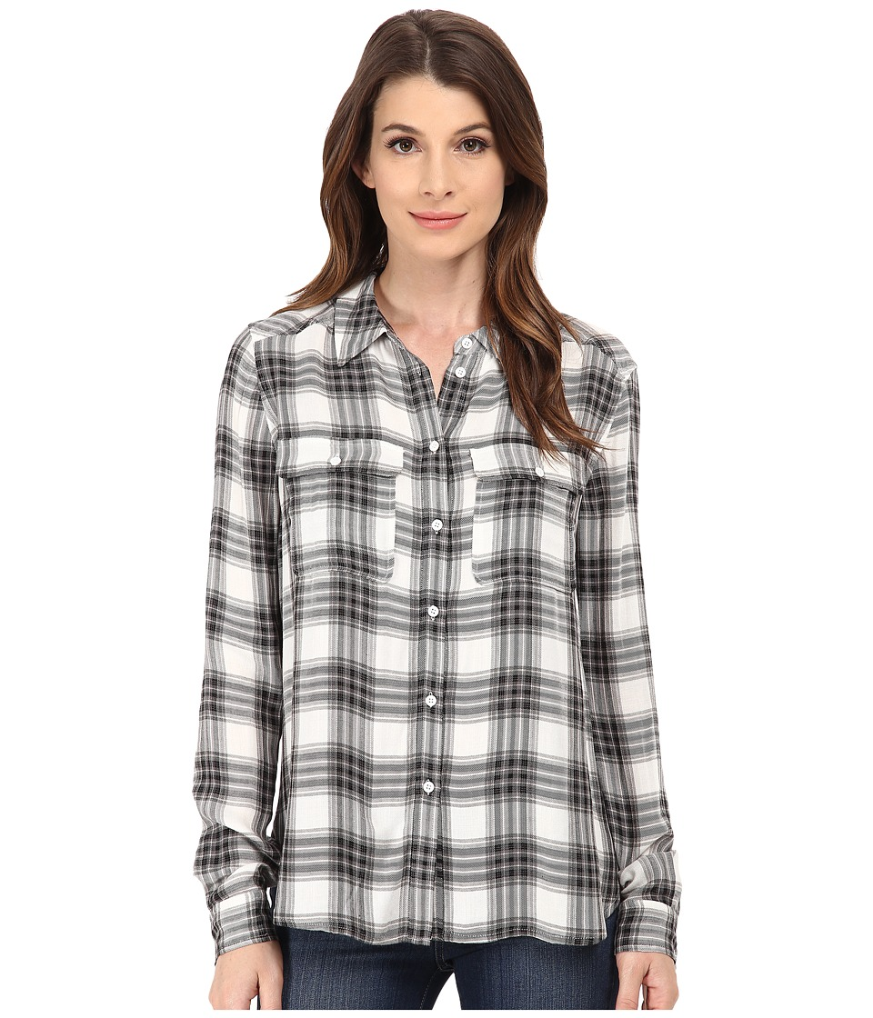 Paige - Trudy Shirt (White/Black/True Blush) Women's Long Sleeve Button Up