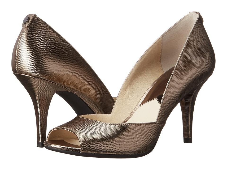 MICHAEL Michael Kors - Nathalie Open Toe (Nickel Metallic Saffiano) High Heels