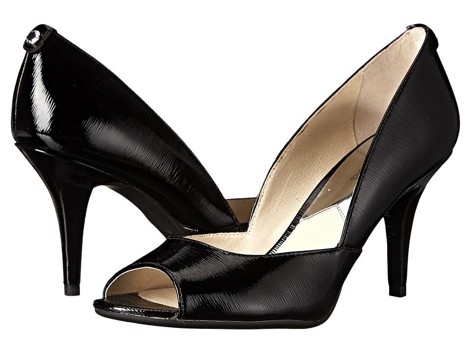 MICHAEL Michael Kors - Nathalie Open Toe (Black Patent Saffiano) High Heels