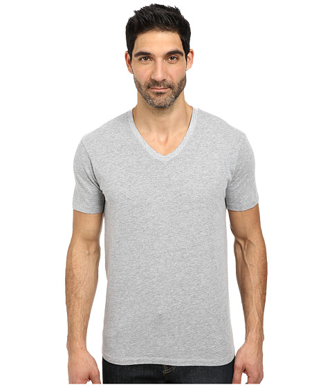 Lucky Brand - Basic V-Neck Tee (Heather Grey) Men