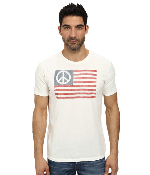 Lucky Brand - Peace Flag Graphic Tee (Marshmallow) Men