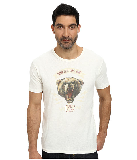 Lucky Brand - Military Bear Graphic Tee (Marshmallow) Men