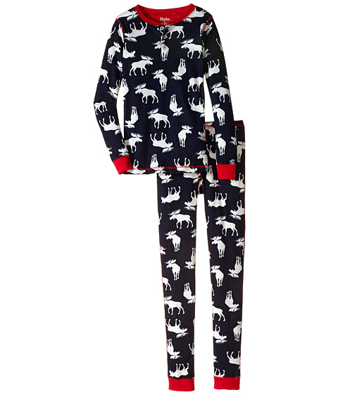 Hatley Kids - Navy Moose Henley PJ Set (Toddler/Little Kids/Big Kids) (Blue) Boy's Pajama Sets