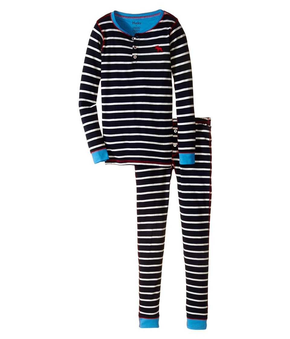 Hatley Kids - Stripe Henley PJ Set (Toddler/Little Kids/Big Kids) (Navy) Boy's Pajama Sets