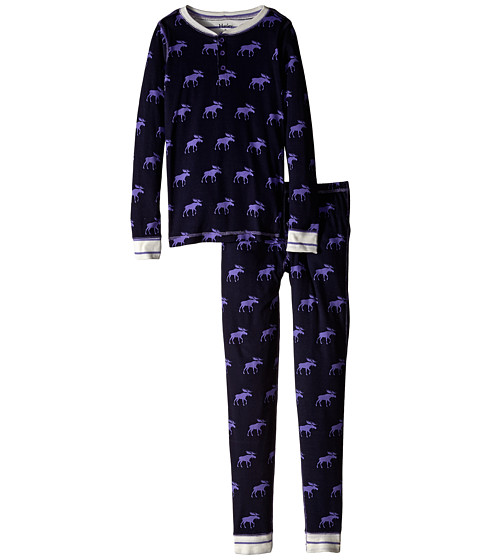 Hatley Kids - Graphic Moose Henley PJ Set (Toddler/Little Kids/Big Kids) (Purple) Boy's Pajama Sets