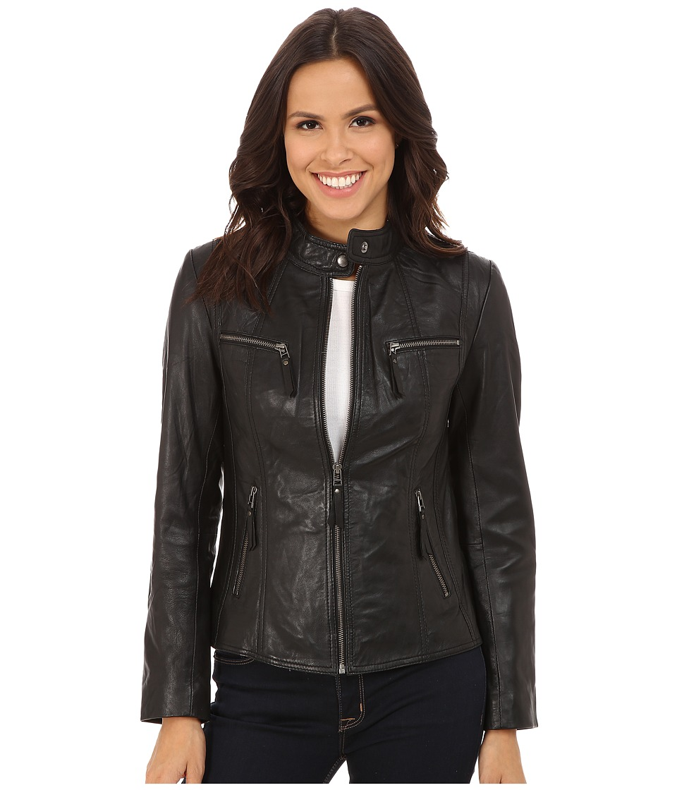 Scully - Lola Leather Sleek Jacket (Black) Women's Coat