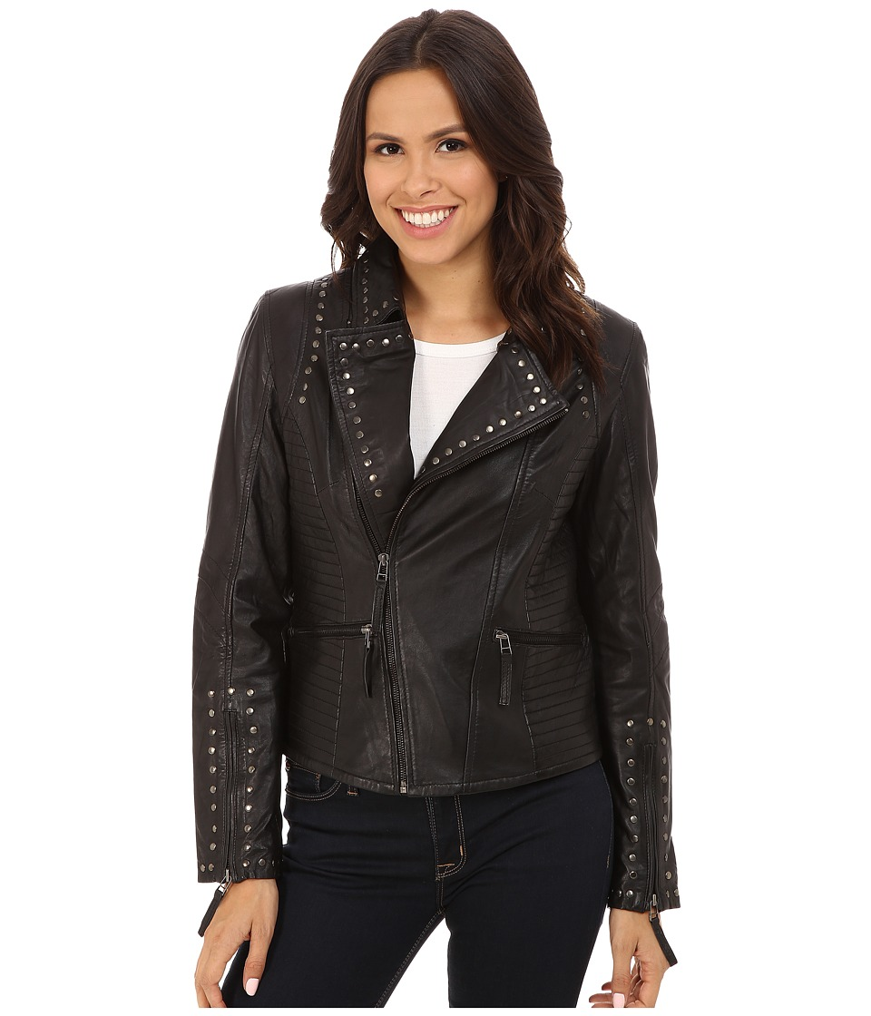 Scully - Corrissa Eagle Studded Leather Jacket (Black) Women's Coat