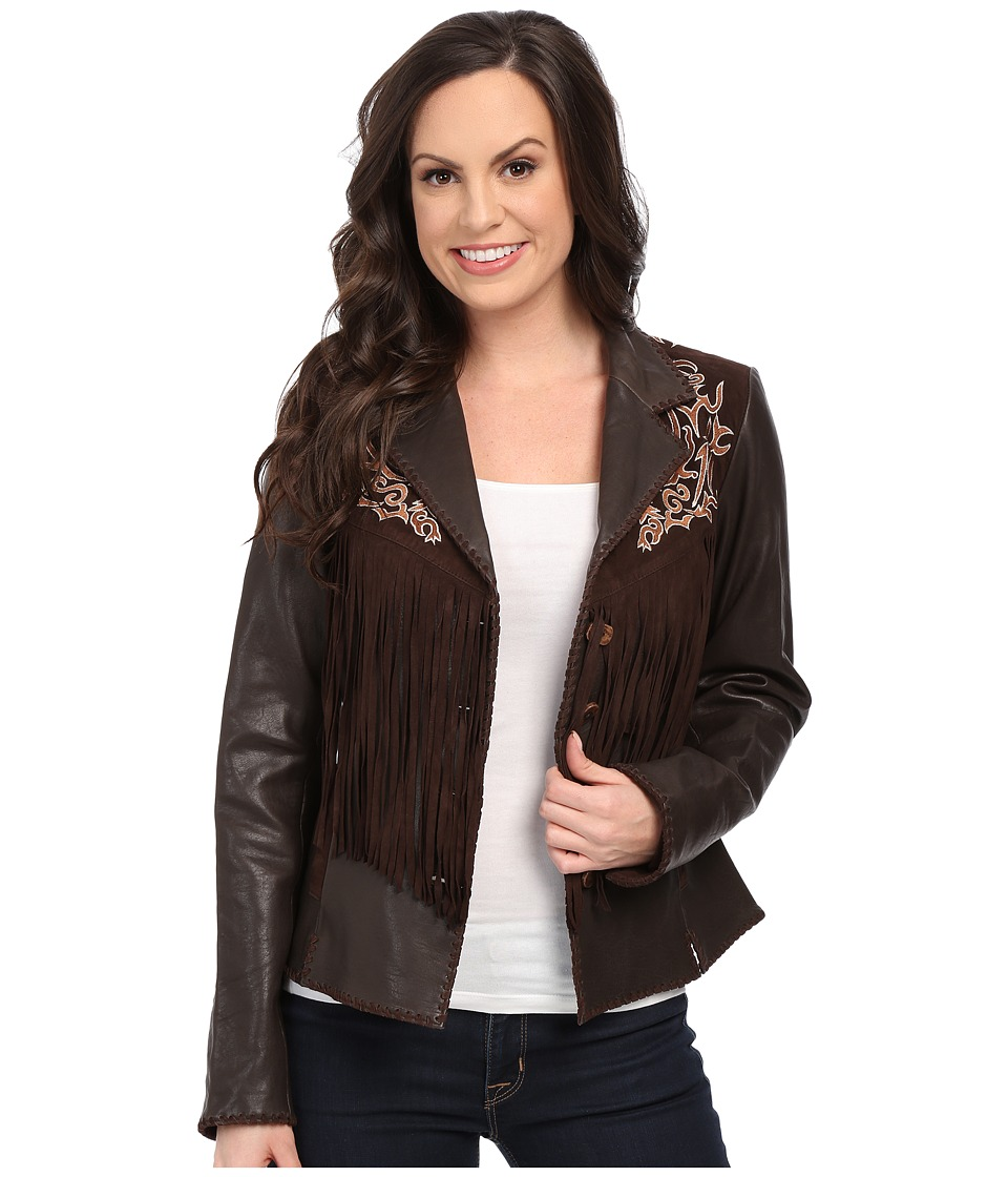 Scully - Lore Exotic Fringe Jacket (Brown) Women's Coat