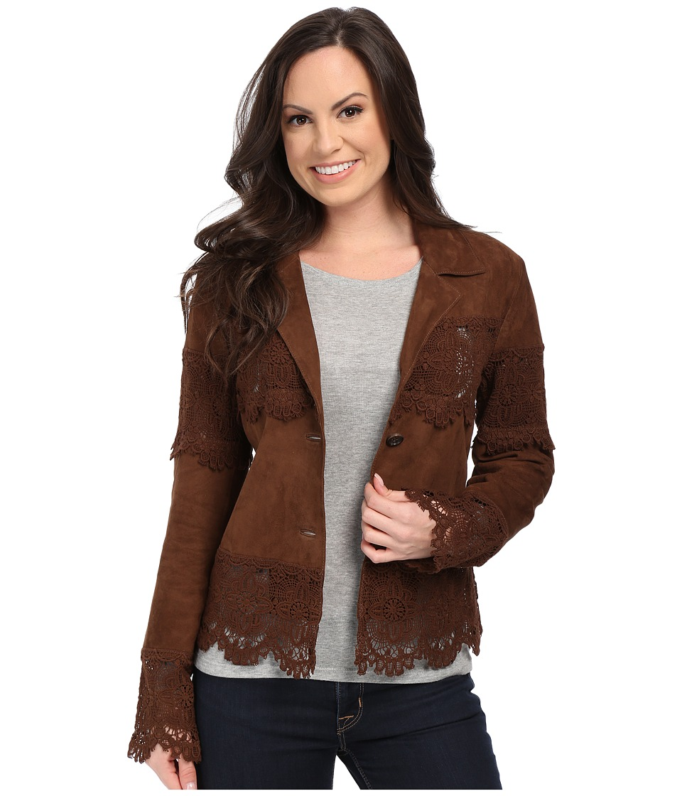 Scully - Lizina Soft Suede Crochet Inset Jacket (Brown) Women's Coat