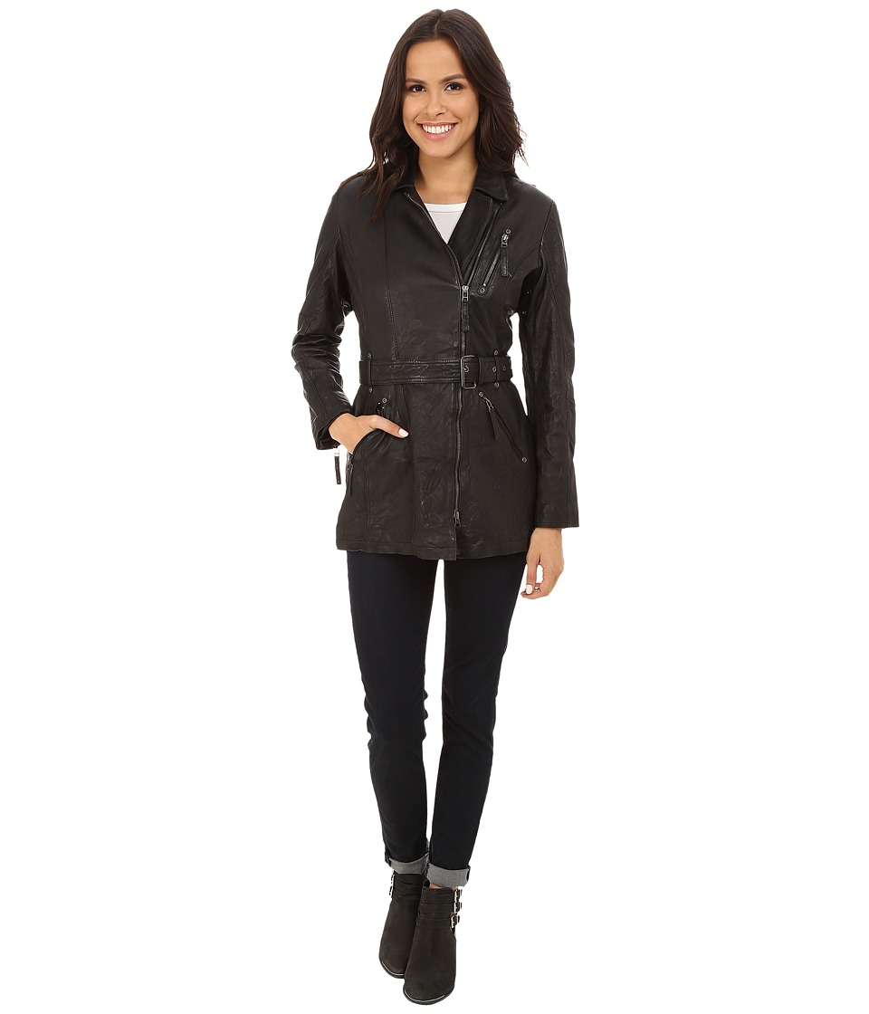 Scully - Lauren Classic Long Leather Jacket w/ Belt (Black) Women's Coat