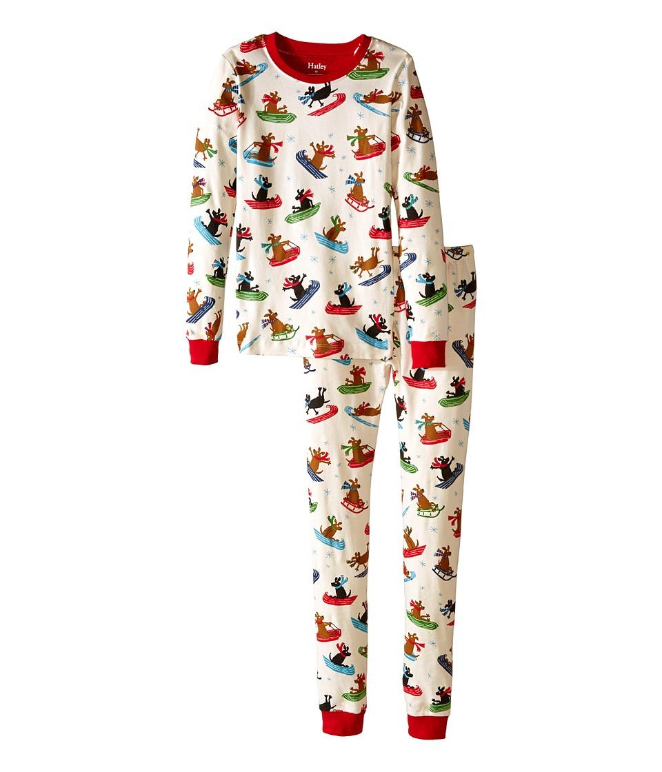 Hatley Kids - Sledding Dogs PJ Set (Toddler/Little Kids/Big Kids) (White) Boy