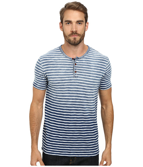 Lucky Brand - Stripe Indigo Henley (Indigo) Men's T Shirt
