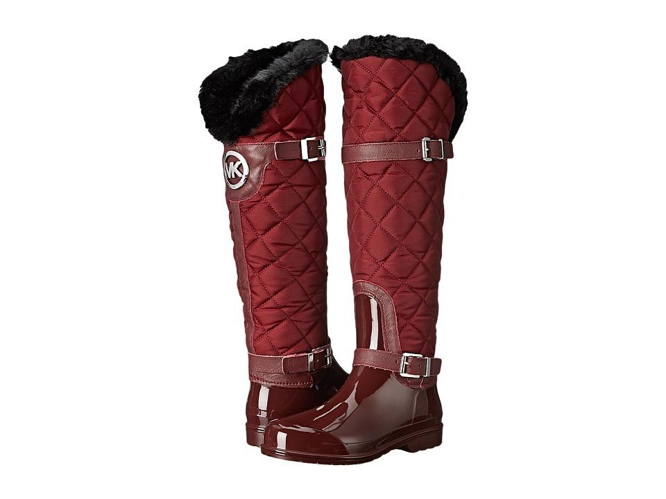 MICHAEL Michael Kors - Fulton Quilted Rainboot (Merlot Nylon/Saffiano/Faux Fur) Women's Rain Boots