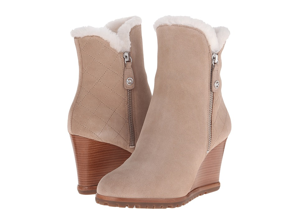 MICHAEL Michael Kors Whitaker Wedge Boot (Dark Khaki Sport Suede/Real Shearling) Women