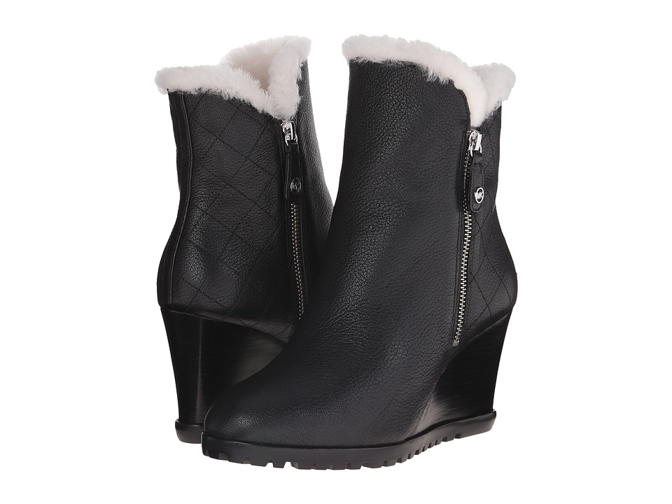 MICHAEL Michael Kors - Whitaker Wedge Boot (Black Tumbled Leather/Real Shearling) Women