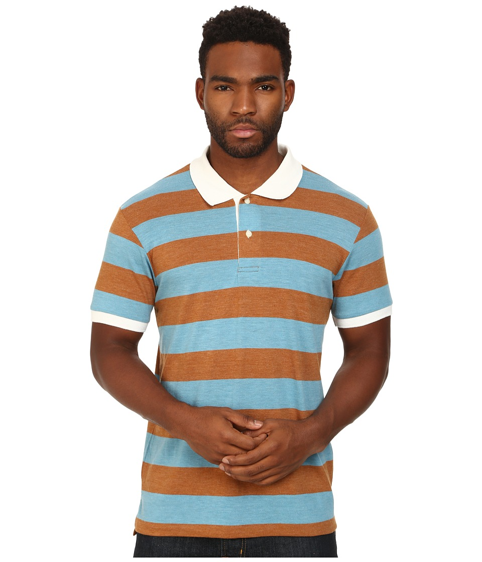 Alternative - Short Sleeve Stripe Polo (Eco True Turquoise) Men's Short Sleeve Pullover