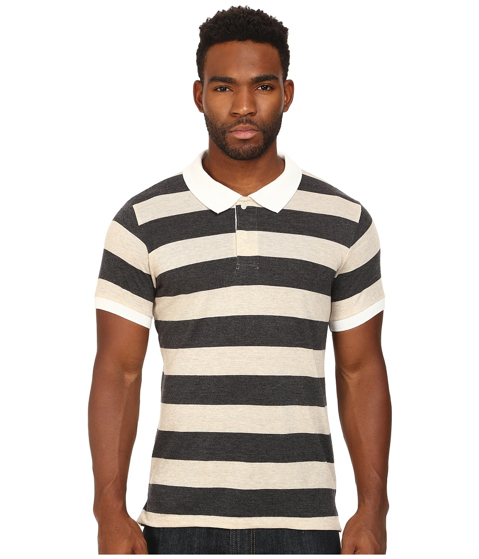 Alternative - Short Sleeve Stripe Polo (Eco True Vintage Black/Stone) Men
