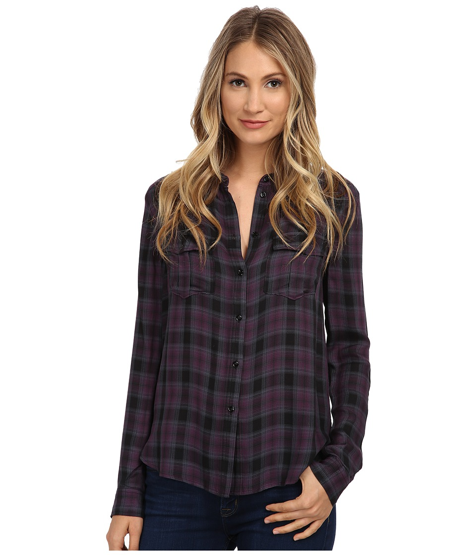Paige - Mya Shirt (Velvet Plum/Black) Women's Clothing