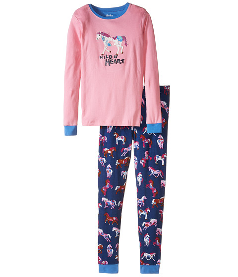 Hatley Kids - Horses Flowers PJ Set (Toddler/Little Kids/Big Kids) (Pink) Girl's Pajama Sets
