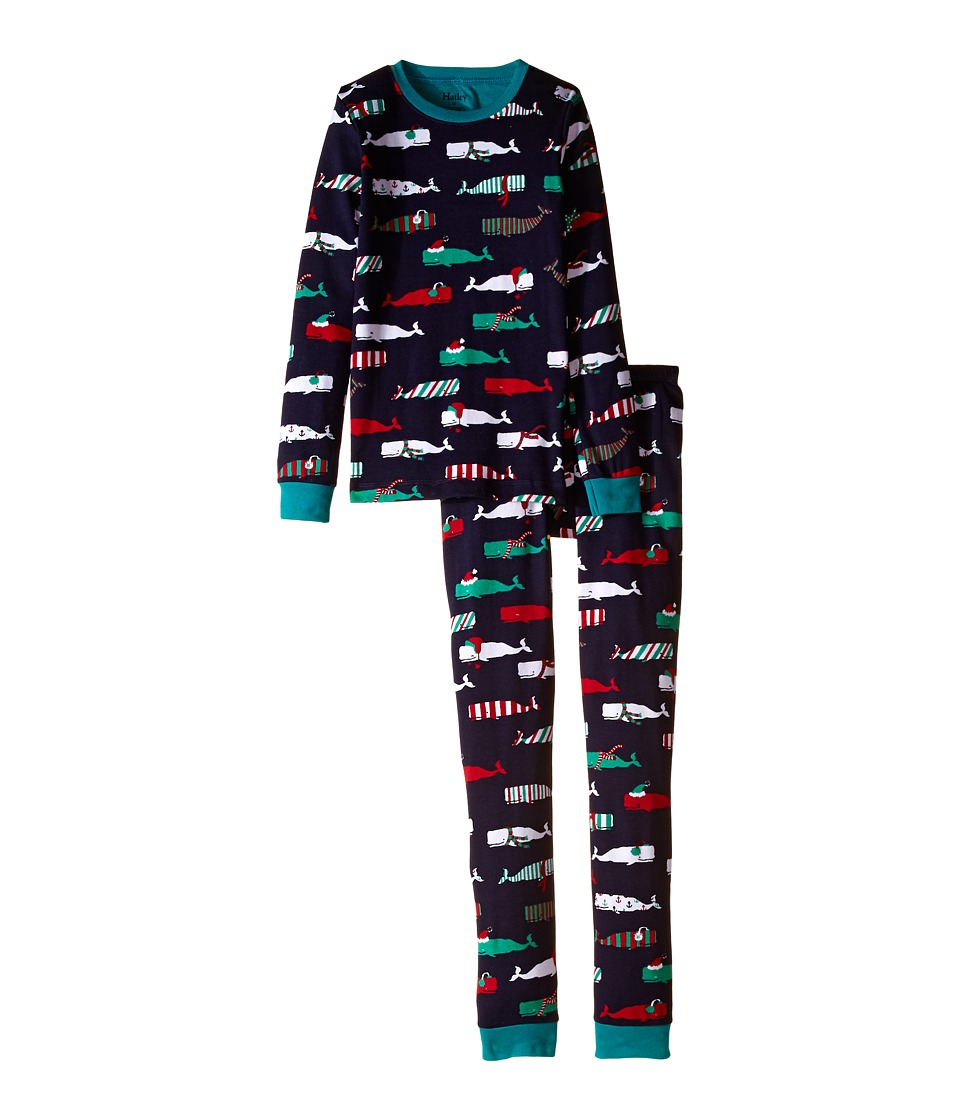 Hatley Kids - Scarf Whales PJ Set (Toddler/Little Kids/Big Kids) (Navy) Boy's Pajama Sets