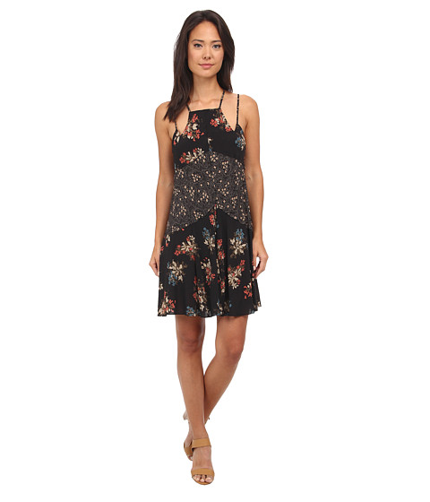Free People - Printed Rayon Voile Crescent Slip (Carbon Combo) Women