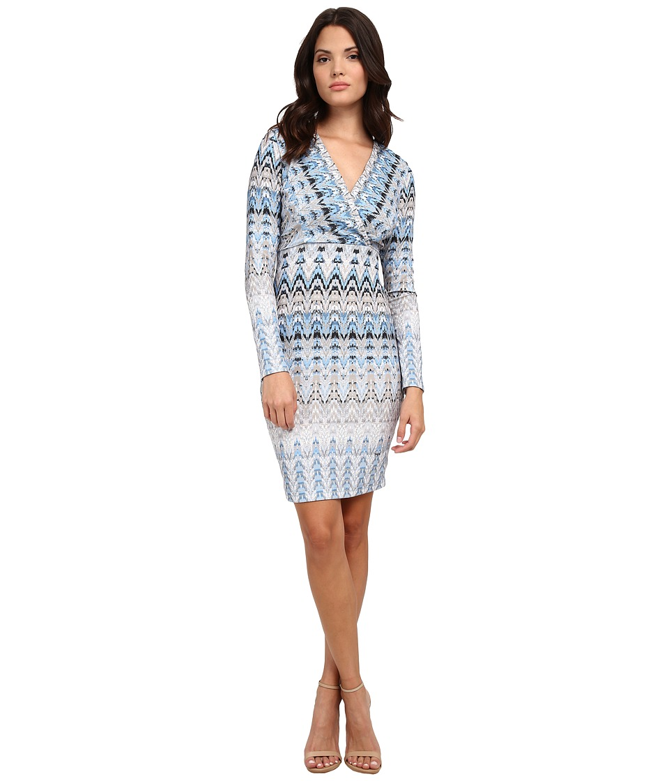 Hale Bob - Frontier Fashion V-Neck Faux Wrap Dress (Blue) Women's Dress