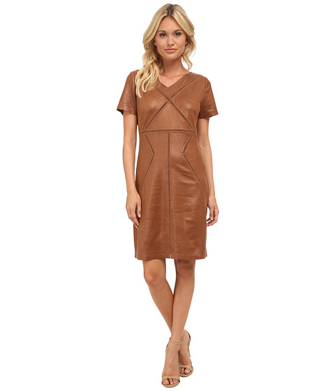 Hale Bob - American Vintage Coated Ultra-Suede Dress (Cognac) Women's Dress