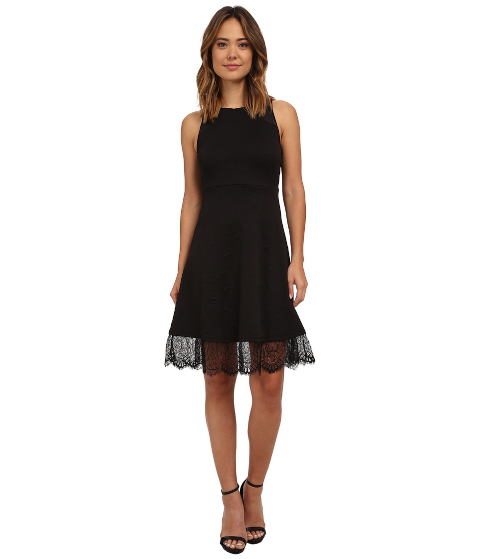 Hale Bob - Lace Essentials Geo Quilted Jacquard Dress (Black) Women's Dress