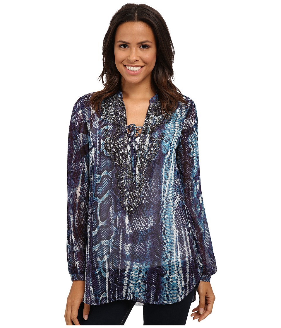 Hale Bob - Exotic Skins Hand Beaded Neckline Blouse (Purple) Women's Blouse