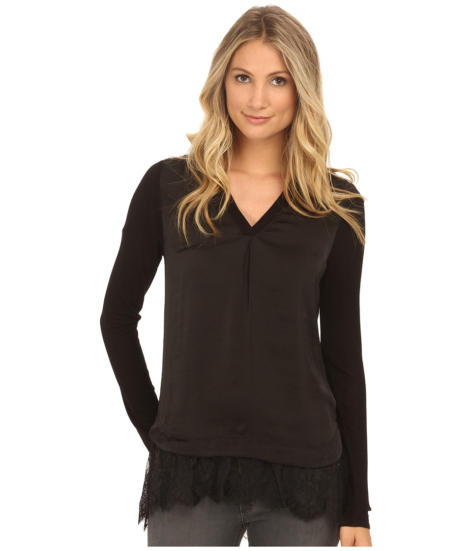 Hale Bob - Lace Essentials Long Sleeve Blouse (Black) Women's Blouse