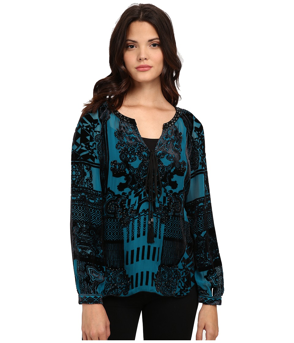 Hale Bob - American Beauty Silk/Rayon Velvet Burnout Blouse (Emerald) Women's Blouse