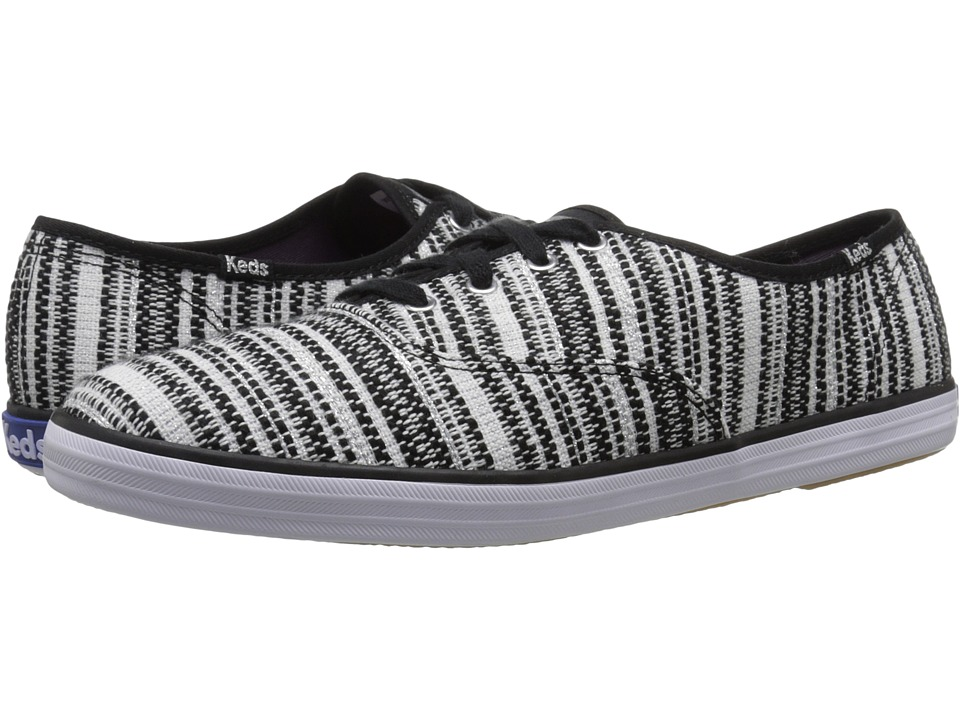 Keds - Champion Metallic Woven Stripe (Black) Women's Lace up casual Shoes