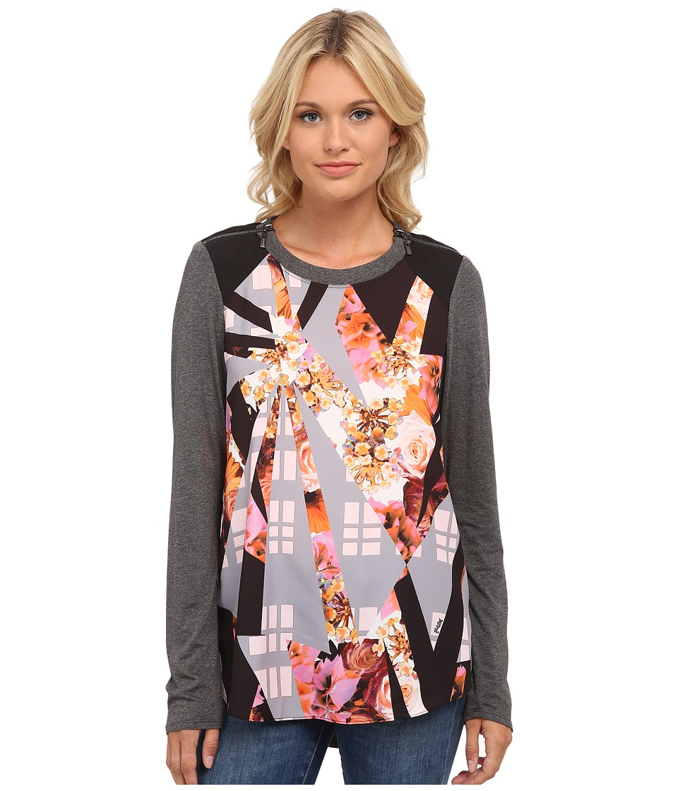 Hale Bob - New York City Story Top w/ Zipper Detail on Shoulders (Pink) Women's Clothing