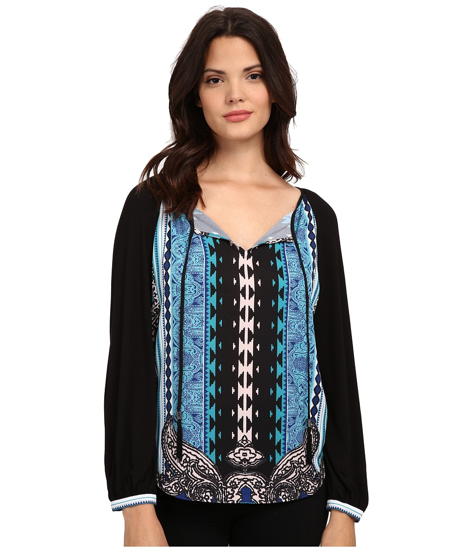 Hale Bob - Rhinestone Cowboy Mixed Media Top (Teal 1) Women's Clothing