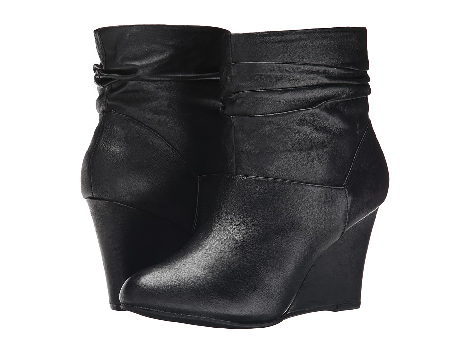 Chinese Laundry U Bet Leather Wedge Bootie (Black) Women