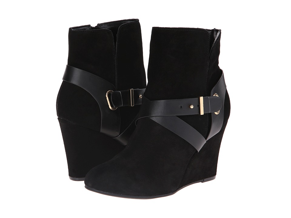 Chinese Laundry - Ultimate Suede Wedge Bootie (Black) Women's Zip Boots