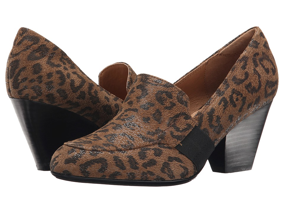 Sofft Anarosa (Desert Tan Leopard Hair Foil Suede) High Heels