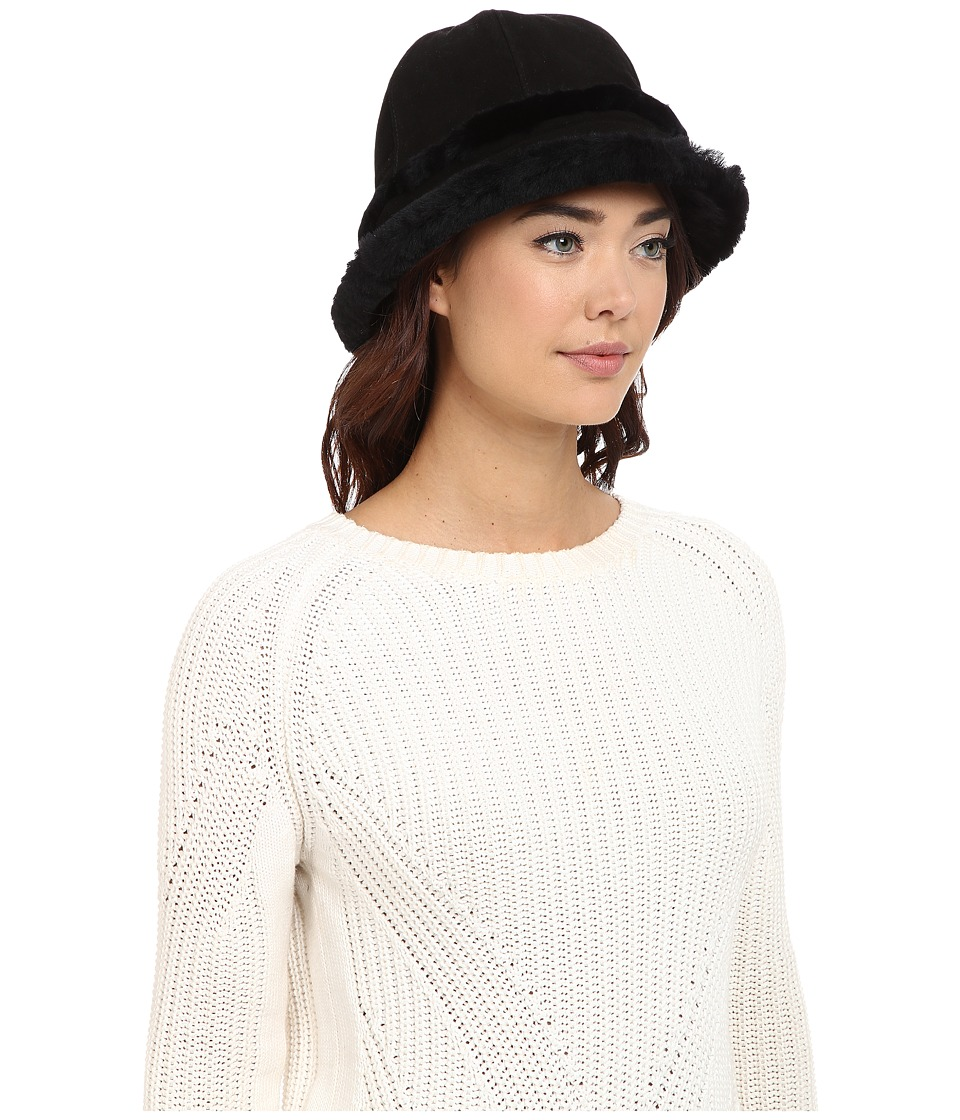 UGG - City Bucket Hat w/ Exposed Shearling (Black) Traditional Hats