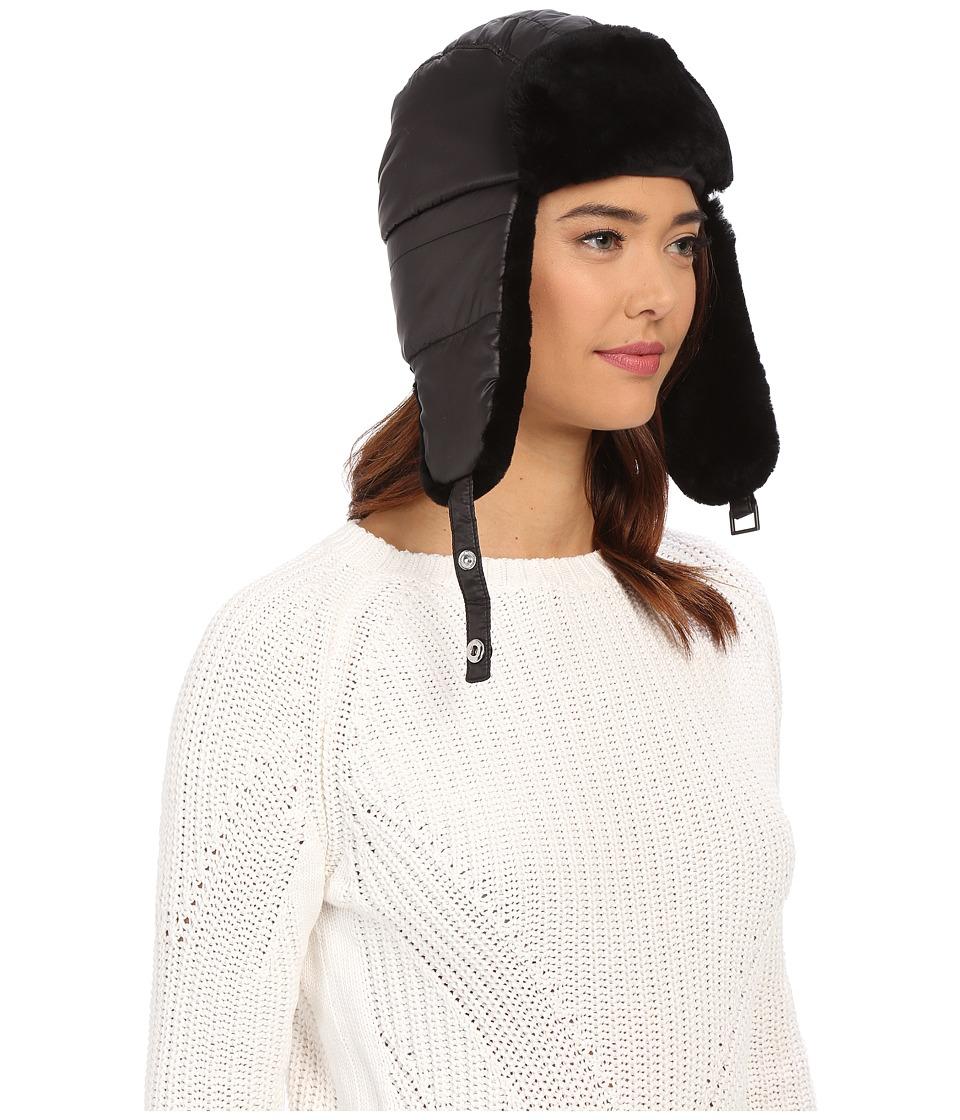 UGG - Lorien Trapper Hat w/ Shearling Trim (Black Multi) Knit Hats