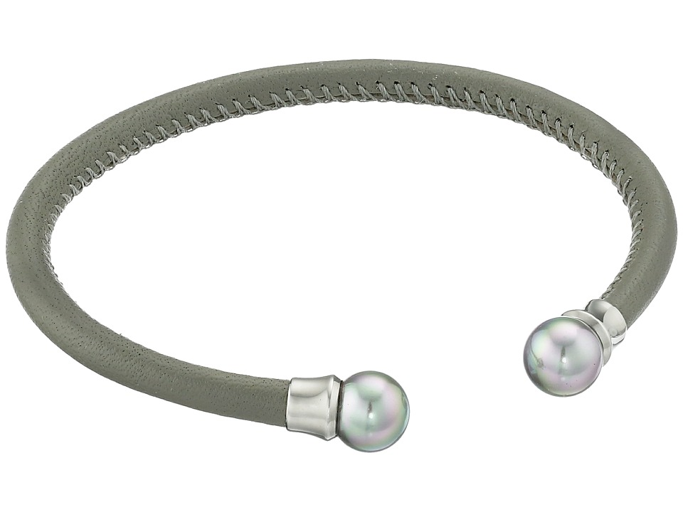 Majorica - Grey Leather Pearl Bangle (Silver/Grey) Bracelet