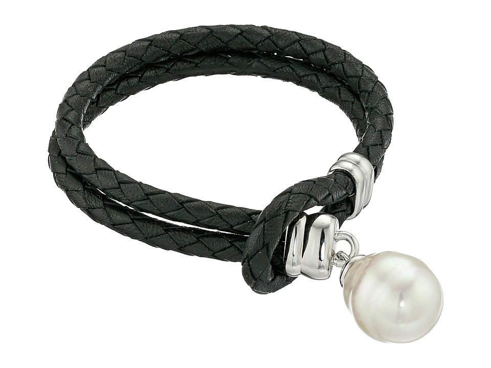 Majorica - Storm Braided Leather Bracelet (Silver/Black/White) Bracelet
