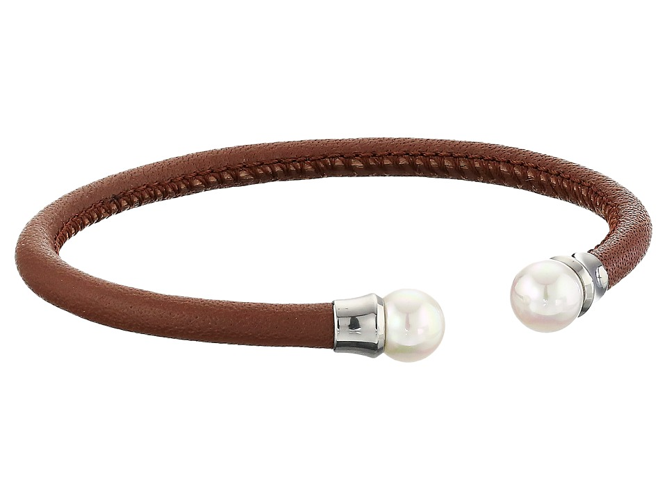 Majorica - Brown Leather Pearl Bangle (Silver/Brown/White) Bracelet