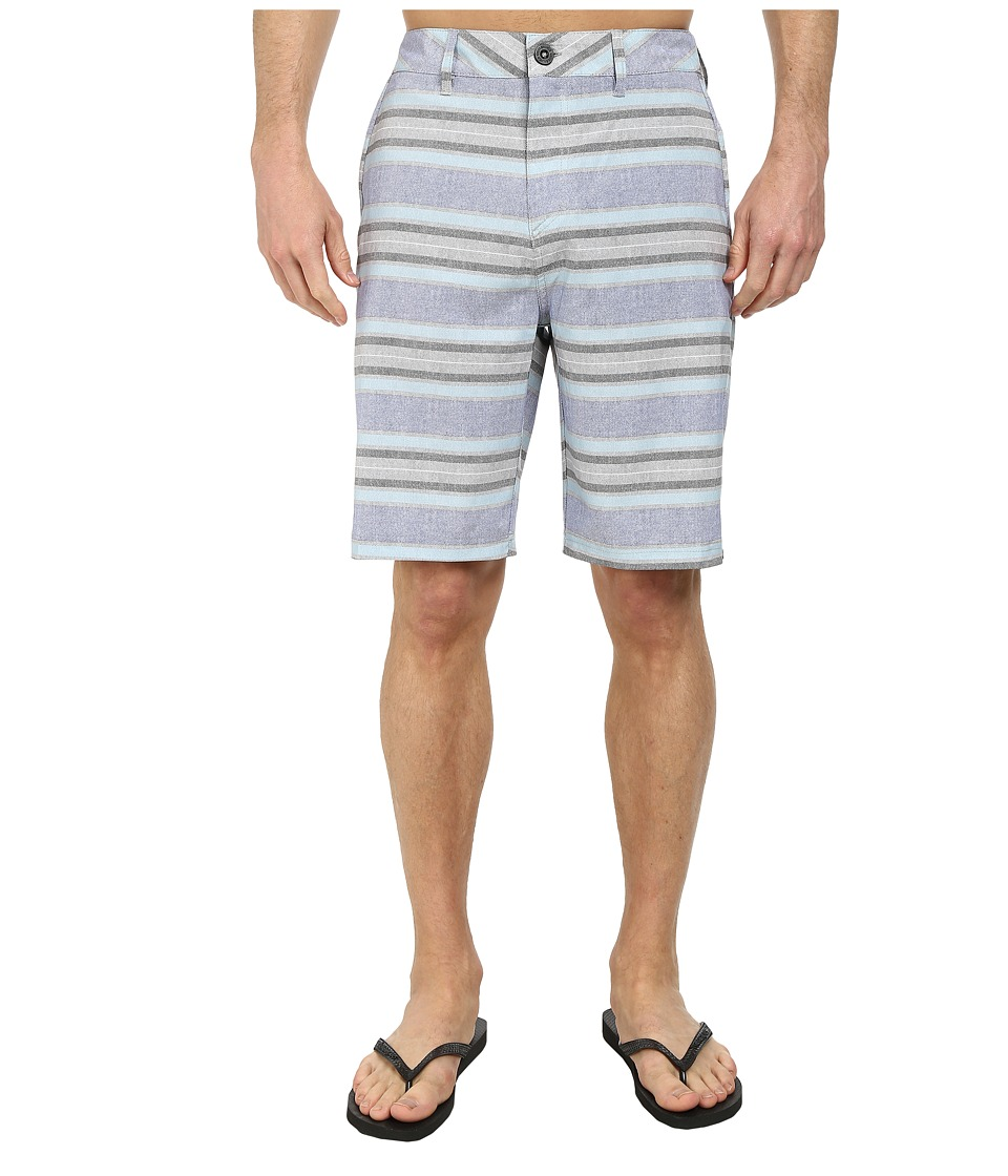 Quiksilver - Striped Amphibian 21 Walk Shorts (White) Men's Shorts