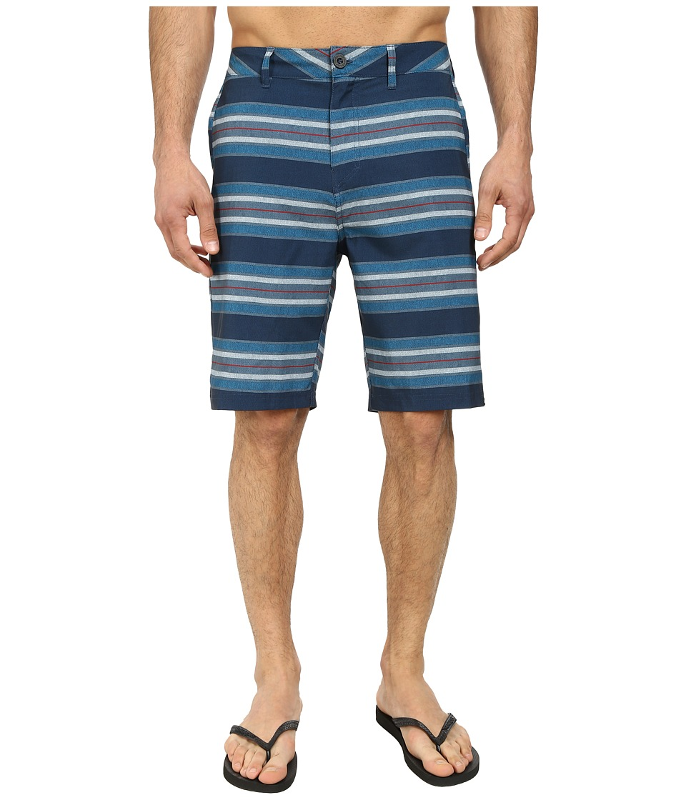 Quiksilver - Striped Amphibian 21 Walk Shorts (Navy) Men